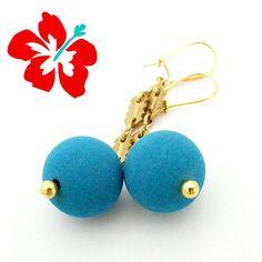 Boucles d'oreilles Perles , Boucles Chaîne Or, Boucles Bleu turquoise, Perle de lave de Sicile, Boucles minimalistes, Boucles d'oreilles Or de la boutique LaFabriqueDeLoulette sur Etsy