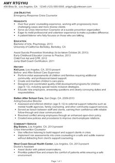 chronological resume sample emergency response crisis counselor - Simple Cover Letter For Resume