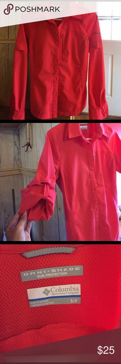 Colombia PFG women's fishing shirt GREAT CONDITION never worn just cleaning out my closet. Smoke free home. Perfect for your initials on the back. Great for the beach (: all offers welcomed Columbia Tops