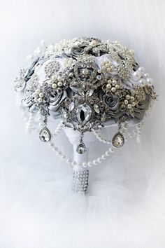 FULL PRICE 8'' Silver wedding bouquet White brooch bouquet The Great Getsby wedding bouquet Royal crystal bridal bouquet Ready to ship