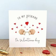 Personalised Valentines Card – Hedgehog Valentines Day Card – Valentines day card for husband – wife – girlfriend – partner – Valentines Day Gift Ideas Valentines Day Decorations, Valentine Day Cards, Valentines Diy, Christmas Crafts To Sell, Heart Diy, Paper Hearts, Valentine's Day Diy, Appreciation Gifts, Boyfriend Gifts