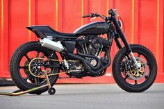 """Stealth"" Harley-Davidson Sportster Sport street tracker by Mule Motorcycles"