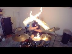 Burn - Drum Cover with Fire Sticks - Ellie Goulding - Drumming With Fire (Brit Awards 2014 song) - YouTube