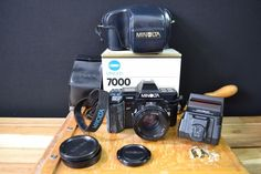Minolta 7000 35mm SLR Film Camera with 50mm Lens kit, Flash and Case
