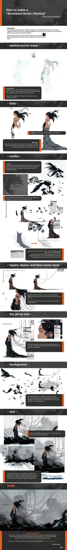 shattered vector painting by chasejc Digital Painting Tutorials, Digital Art Tutorial, Painting Tips, Art Tutorials, Painting Process, Drawing Lessons, Drawing Techniques, Drawing Tips, Drawing Process