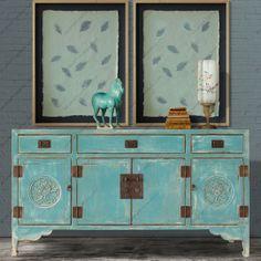 【摆设 新中式家具】仿古做旧玄关柜中式实木3屉4门餐边柜富贵