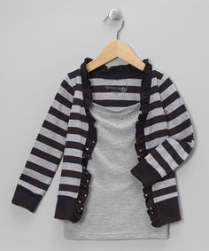 Take a look at this Black & Heather Gray Stripe Layered Cardigan - Toddler on zulily today!