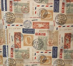 Travel fabric airmail postage stamp fabric by BrickHouseFabrics