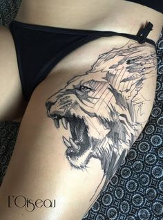 lion head tattoo by l'oiseau #B&W
