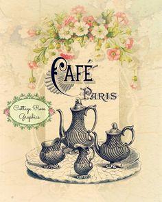 Cafe' Paris LARGE printable digital image by CottageRoseGraphics