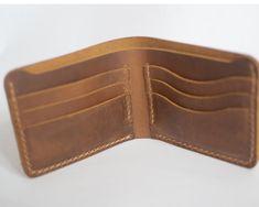 cdc5f4ad342af Handmade wallet Mens leather wallet Hand sewing Brown bifold wallet leather  wallet Billfold vintage