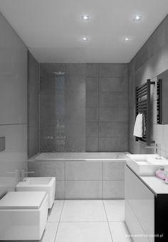 Szaro-biała łazienka z wanną - Architektura, wnętrza, technologia, design - HomeSquare Bathroom Inspo, Bathroom Layout, Bathroom Interior Design, Small Bathroom, Pinterest Bathroom, Modern Bedroom, Interior Styling, Bathtub, House Design