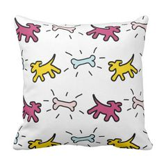 Yellow Purple Dogs Bones Graffiti Style Pillow - pillows home decor diy cyo pillow design Yellow Birthday Parties, 1st Birthday Gifts, Purple Birthday, Red Dog, Brown Dog, Pink Dog, Art Diy, Graffiti Styles, Unique Presents