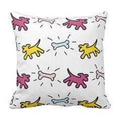 Yellow Purple Dogs Bones Graffiti Style Pillow - pillows home decor diy cyo pillow design Yellow Birthday Parties, 1st Birthday Gifts, Purple Birthday, Red Dog, Brown Dog, Pink Dog, Art Diy, Turquoise Background, Graffiti Styles