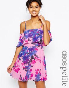 Image 1 ofASOS PETITE Cold Shoulder Floral Mini Dress
