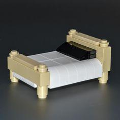 LEGO Furniture: Tan Bed w/ Black & White Bedding - Set w/ Parts & Instrustions #LEGO