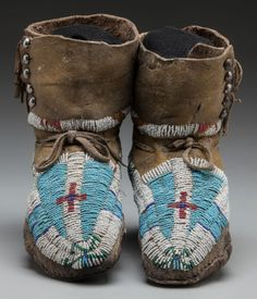 American Indian Art:Beadwork and Quillwork, A PAIR OF UTE BEADED HIDE MOCCASINS. c. 1880... (Total: 2 )