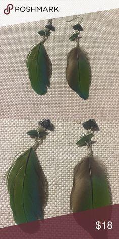 Real Feather Handmade Earrings Lovely handmade feather and beaded earrings! Feathers and stones are real! Jewelry Earrings