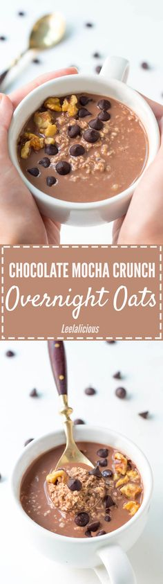 Chocolate as part of a healthy breakfast? These Mocha Crunch Chocolate Overnight Oats make it possible. Nutritious oats are soaked overnight in coffee and cocoa infused milk and topped with chocolate chips and nuts in the morning.
