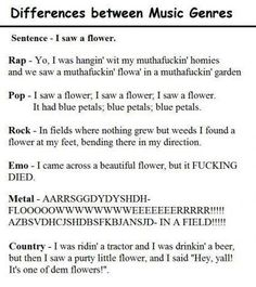 Differences between Music Genres.  #music #funny #funnyquotes #funnytweets http://on.fb.me/UPNeAU Celebrate Quotes http://on.fb.me/UZ7W2a