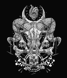 Dark Art Illustrations, Black Metal, Skull Illustration, Pointillism, Death Metal, Skull Art, Black Tattoos, Satan, Ink