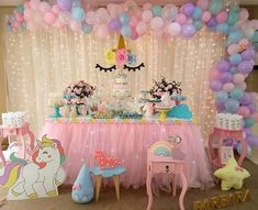 Here's a different version of a Here's what you need: ✨ Pink tutu table cloth ✨ White sheer drape curtain… Unicorn Themed Birthday Party, Baby Girl 1st Birthday, Girl Birthday Themes, Birthday Party Decorations, First Birthday Parties, 5th Birthday, Fiesta Theme Party, Unicorn Baby Shower, Etsy