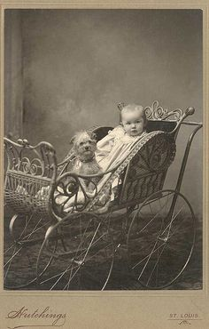 +~+~ Antique Photograph ~+~+  Baby and adorable rag-a-muffin doggie.