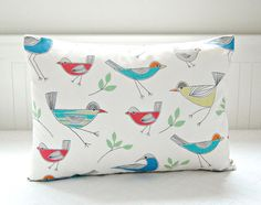 birds decorative pillow cover red blue orange by LittleJoobieBoo