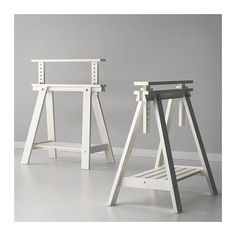 Adjustable-Height-FINNVARD-TRESTLE-TABLE-Wooden-Stand-Legs-Shelf-Beech-White