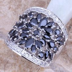 Black Sapphire White Topaz 925 Sterling Silver Ring For Women Size 8 Free Shipping & Jewelry Bag S0179 - V-Shop