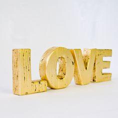 LOVE Primitive Gold Leaf Wood Letters. $28.00, via Etsy. #gold #home #decor