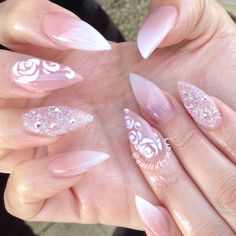 Ombré gradient stiletto pointy elegant simple pretty cute roses sugar Swarvoski Crystal pixie dust French wedding acrylic nails
