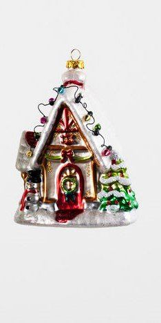 Gingerbread House Glass Christmas Ornament ~ Vintage Retro Style