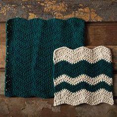 Wavy Chevron Crochet Dishcloth by Jenny Konopinski - Free Pattern