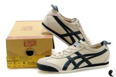 Onitsuka Tiger Mexico 66 Beige DK.Blue Leather Trainers