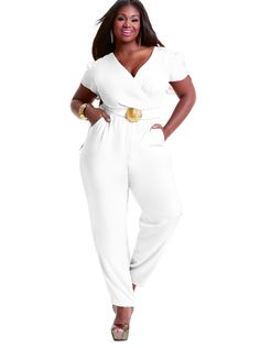 """Kristin"" Tulip Sleeve Jumpsuit -White - Cocktail Dresses - Clothing - Monif C"