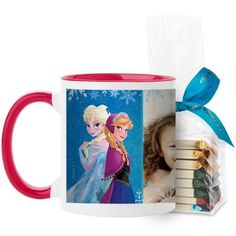 Disney Frozen Anna And Elsa Mug, Red, with Ghirardelli Assorted Squares, 11 oz, Blue
