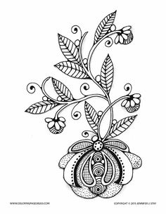 Flower Coloring Page For Adults And Grown Ups Stylized To Color Mothers Day