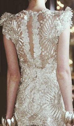 White dress with great fabric and detail.