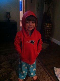Avery, her first grandchild, is a little Pats fan!
