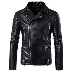 Black Motorcycle Mutil Zipper Fold Metal Plus Size Coat PU Jacket for... ($60) ❤ liked on Polyvore featuring men's fashion, men's clothing, men's outerwear and men's coats