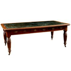 English George III Style Partner's Desk with Tooled Leather Top, circa 1850 Modern Desk, Modern Furniture, Home Furniture, Furniture Storage, Leather Tooling, Tooled Leather, English Antique Furniture, Partners Desk, Antiques For Sale