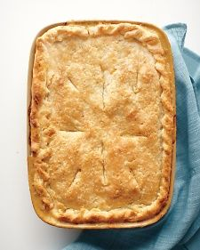 another great filling, cold weather-appropriate breakfast idea!  To make potpies ahead of time, let the filling cool, then assemble and freeze for up to 4 months. Bake at 425 degrees, 1 1/4 hours (1 hour for small pies).