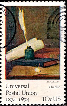 USA.  Centenary of UPU Issue.   Inkwell and Quill, by Chardin.  Scott 1535  A938, Issued 1974 June 6, Photo., Perf. 11, 10c. /ldb.