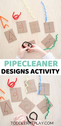 Pipecleaner Designs Activity Pipecleaner Designs Activity,Fine Motor Skills Ideas This Pipecleaner Designs Activity is a quick and easy way to keep your little ones busy and happy! If you have a cardboard box at. Motor Skills Activities, Educational Activities For Kids, Montessori Activities, Indoor Activities, Toddler Activities, Preschool Activities, Kids Learning, Educational Software, Educational Toys