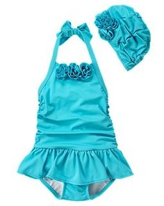 Toddler Girls' Gymboree Aqua Rosette Skirted Swimsuit and Cap @Jennifer Conklin here is the outfit for K's enamelware photo shoot!