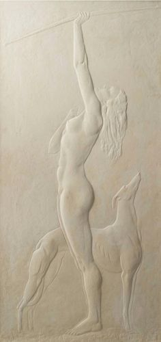 Albert Leclerc. Diana and Her Hunting Hound, c. 1938. Plaster bas-relief. From a hunting lodge in the Ile-de-France.