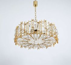 "19"" diameter, Gilded Brass and Crystal Glass Lobmeyr Chandelier 