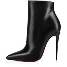 So Kate Booty 120 BLACK Calf - Women Shoes - Christian Louboutin ($1,360) ❤ liked on Polyvore featuring shoes, boots, ankle booties, black pointed toe booties, black leather bootie, black leather boots, black ankle bootie and leather ankle boots