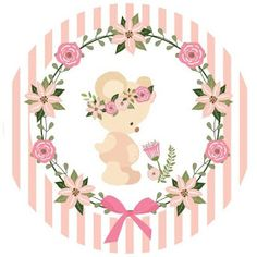 Bear Girl with Flowers Crown Free Printable Mini Kit. - Oh My Baby! Fun Crafts, Diy And Crafts, Paper Crafts, Teddy Bear Cartoon, Baby Posters, Bear Girl, Baby Shawer, Girls With Flowers, Bear Party